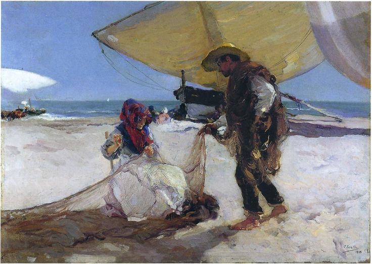 On the Sand, Valencia Beach - Joaquín Sorolla - WikiPaintings.org