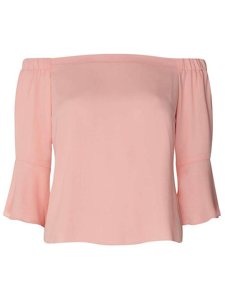 Womens Petite Pink Bardot Top- Pink
