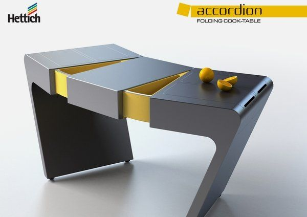 High Quality Foldable Kitchen Table That Will Save Your Space U2013 Accordion ... | Portable  Desk | Pinterest | Home, Design And Building Design Ideas