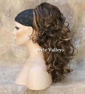 Brown Mix W Blonde Highlights Ponytail Long Curly Clip In