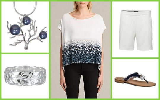 Juba Pina Tee, ALLSAINTS + Theaz Shorts, Tiger Of Sweden + Alana Sandal, Jack Rogers + Hawaiian Ocean Coral Branch Pendant + Sterling Silver Maile Hawaiian Ring, Maile Ilima #мода #стиль #сочиняемнаряд #топ #шорты #обувь #сандалии #украшения #бижутерия #подвеска #кольцо #fashion #style #outfit #allsaints #top #tigerofsweden #shorts #jackrogers #shoes #sandals #maileilima #jewellery #pendant #ring