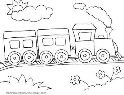 Aneka Gambar Mewarnai Gambar Mewarnai Kereta Api Untuk