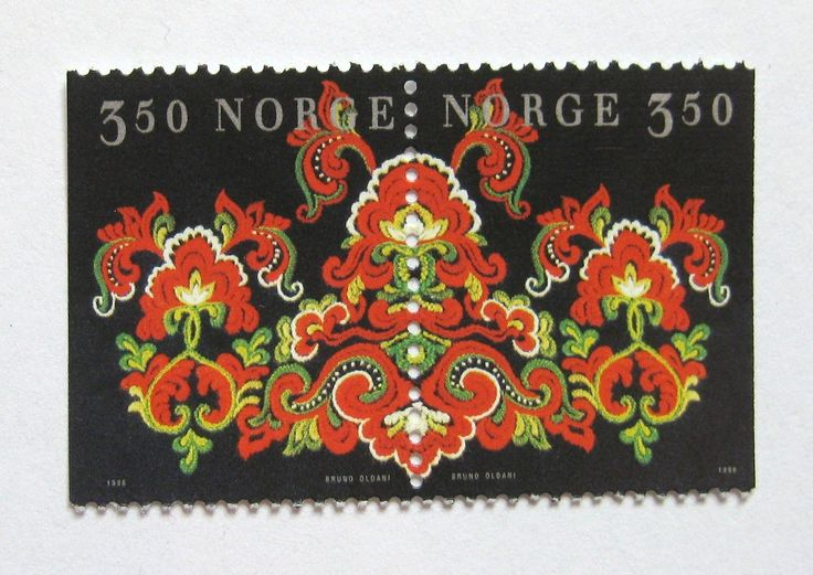 NORWAY 1996 EMBROIDED MOTIF FROM NORWEGIAN FOLK COSTUME
