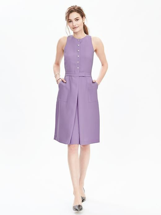 """Banana Republic: Button-Front Crepe Pocket Dress in """"summer lilac,"""" $128. Sweet."""