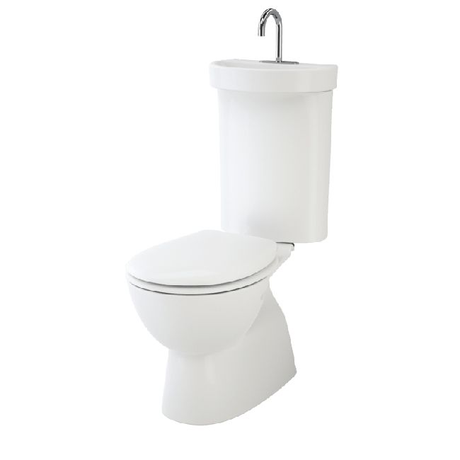 Caroma Profile 5 Deluxe Integrated Hand Basin Close Coupled BI S Trap Soft Close Seat Suite White