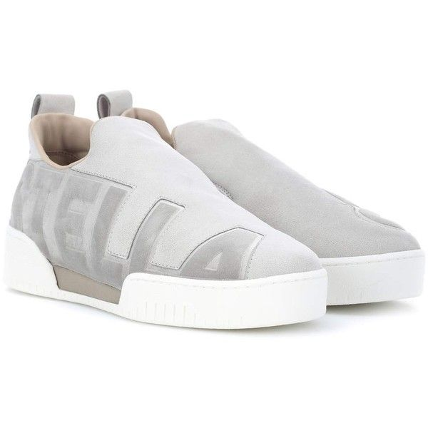 Stella McCartney Velvet-Trimmed Faux Suede Sneakers ($535) ❤ liked on Polyvore featuring shoes, sneakers, grey, grey shoes, stella mccartney, stella mccartney shoes, grey sneakers and stella mccartney sneakers