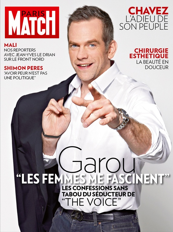 Paris Match n° 3330 du 14 mars 2013, édition iPad, avec Garou en couverture.