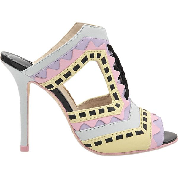 Sophia Webster Riko Pastel Mule ($270) ❤ liked on Polyvore featuring shoes, sandals, multicoloured, leather mules, leather high heel sandals, leather sandals, leather slip-on shoes and high heel mule sandals