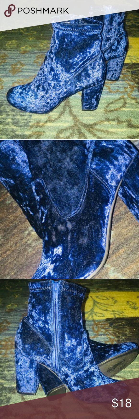 Carlos Santana boots New-- Carlos Santana royal blue velvet boots. Round toe, 3 inch heel with inside zipper. Be in style with these fashion foward jems. Carlos Santana Shoes Ankle Boots & Booties