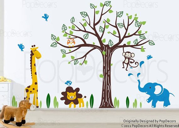 "Kids Wall Decals Tree Giraffe Lion Elephant Monkeys  Wall Stickers- Happy Zoo (83"" H) - Baby Nursery Tree Decals Animals Stickers pt0154"