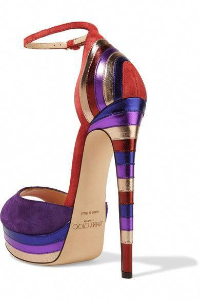 7cef5370701 Jimmy Choo - Max Metallic Leather-paneled Suede Platform Sandals - Purple -  IT38.5  JimmyChooHeels