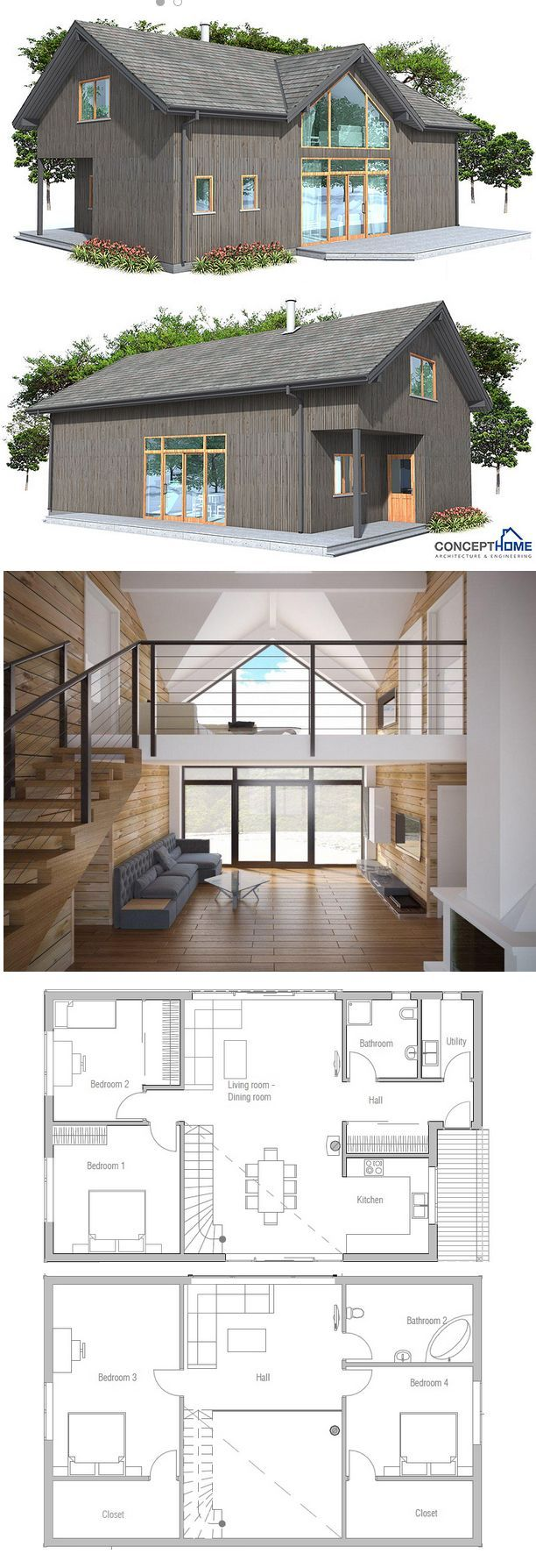 Change the upstairs bedrooms so both have ensuite bathrooms.  Eliminate Bedroom 2 downstairs to increase living room space. | House Plans
