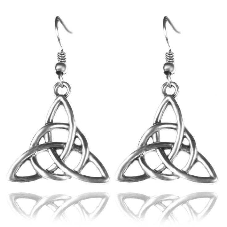 Trendy Antique Silver Tone Triquetra Knot Pendant Earrings Female Plant Triangle Shape Drop Earrings Eardrops Pending Jewelry