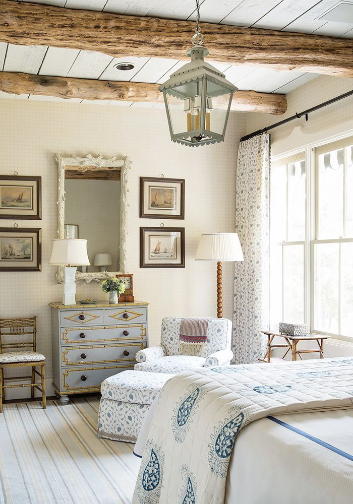 Subtle patterns keep this blue  white and cream bedroom soft serene 18 Stunning Spaces Where Pattern Rules via 483 best COTTAGE STYLE BEDROOMS images on Pinterest Bedrooms