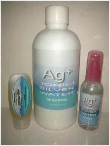 Paket Ag+ 3IN1 : Paket Hemat berisi 1 btl Ag+ SilverGel 30 ml + 1 btl Ag+ Spray 60 ml + 1 btl Ag+ Refill 500 ml @    Ionic Silver Water (Ag+) Air Ion Perak dan Ionic Silver Gel (Ag+) Gel Ion Perak  Keajaiban Alami Multifungsi Untuk Perawatan Kesehatan & Kecantikan  Kombinasi yang seimbang antara Ionic Silver (Ag+) Ion Perak sebagai Anti Virus, Bakteri dan Jamur dengan Lidah Buaya yang kaya akan vitamin A, C dan E, Asam Folat dan Niacin menjadikan Ionic SilverGel (Ag+ SG30) Gel Ion Perak ...