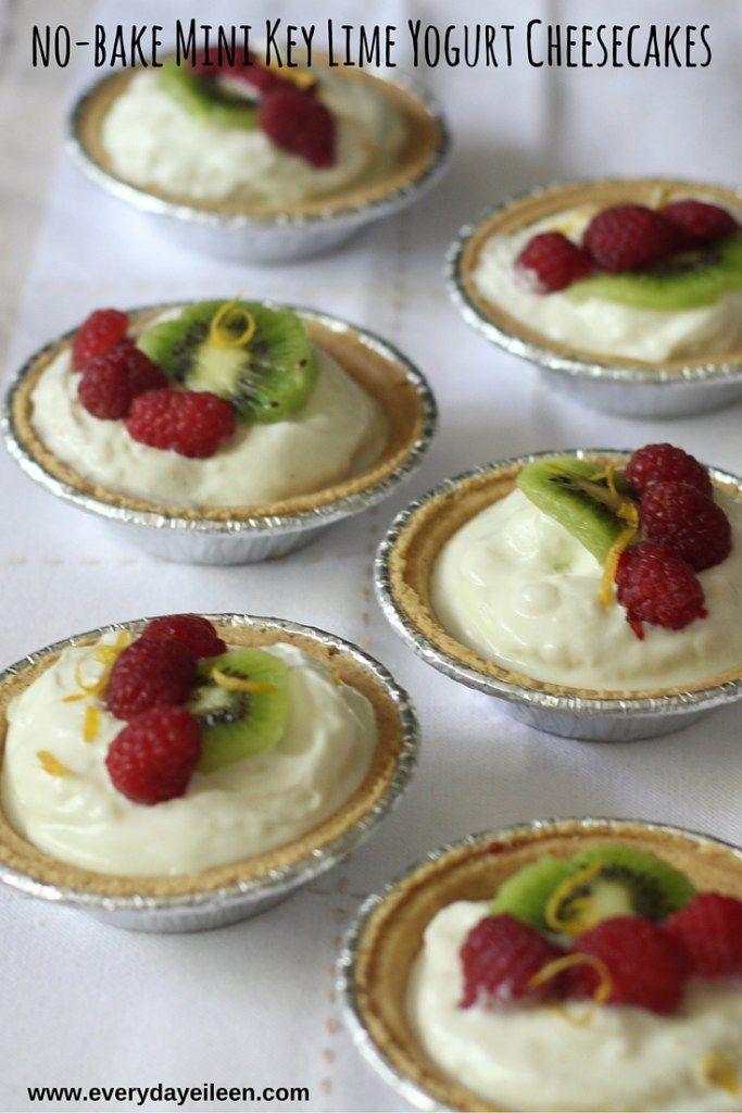 No-Bake Mini Key Lime Yogurt Cheesecakes made with Oikos®️️ Key Lime Greek Yogurt low-fat cream cheese in Keebler®️️ Ready Crust®️️ Mini Graham Cracker Pie Crust.Top with Reddi-wip®️️ #ad #EffortlessPies