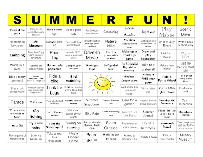 Sommer Bingo. Lustige Ideen für diesen Sommer mit Kindern. Versuchen Sie Bingo zu bekommen, oder betteln Sie …   – Sunny summer activites