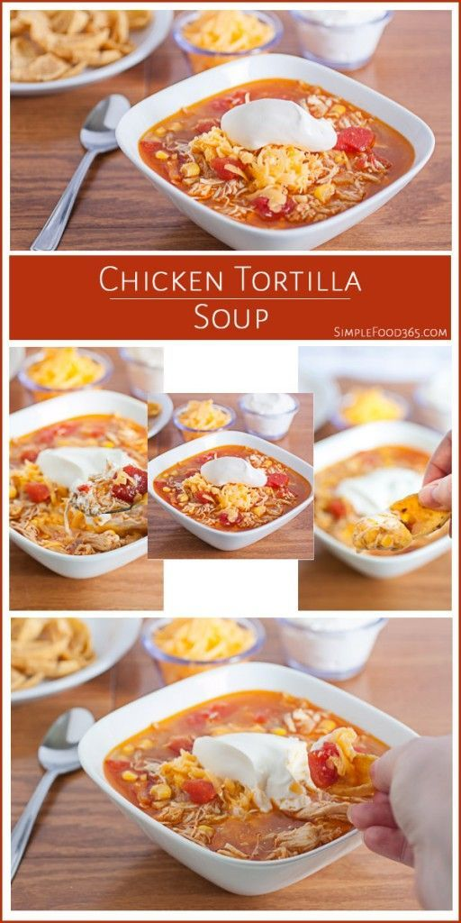 Cooler weather is coming and this Chicken Tortilla Soup recipe is just the thing to warm you up on those dreary fall or winter days! The recipe is really easy to put together and so full of flavor! Our family loves it with some corn chips or tortilla chips on the side for scooping the goodies out of the bowl! | http://SimpleFood365.com
