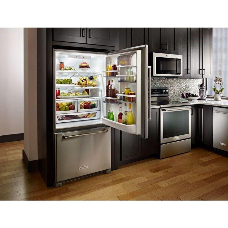 Kitchenaid 22 cu ft bottom freezer refrigerator in