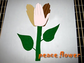 Handprint Peace Flower After-School Library Craft January 15 3-5 pm. to celebrate Martin Luther King Jr.'s Birthday