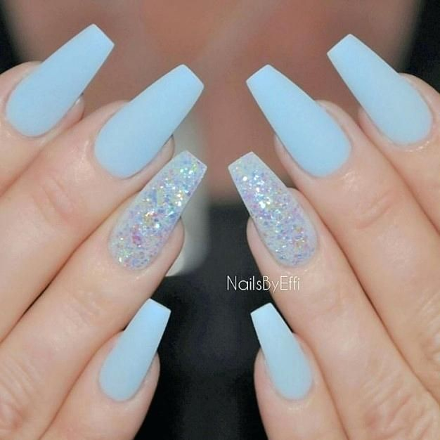 Image Result For Light Blue And White Nails Blue Coffin Nails Blue Acrylic Nails Coffin Nails Glitter