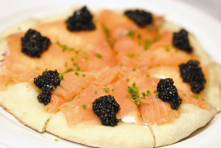 Wolfgang Puck's smoked salmon pizza recipe from Spago (caviar optional, of course!)