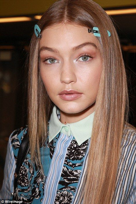 Backstage beauty: Gigi was a vision of beauty as she prepared for the show backstage...