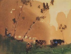 Blamire Young.  'The pasture stance' c. 1911-1912.  Australian watercolourist.