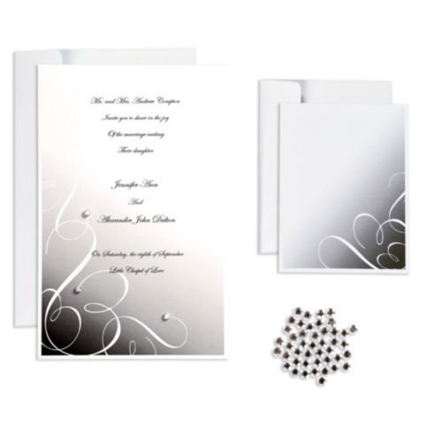 Black Rhinestone Swirl Printable Wedding Invitations Kit   Party City