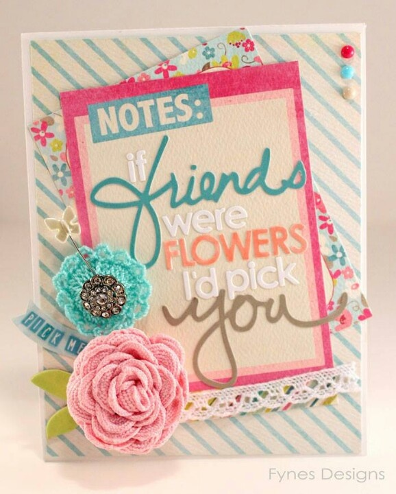 Card Making Inspiration Ideas Part - 45: Friend Card With A Flower Pin Gift - May Arts Wholesale Ribbon Company
