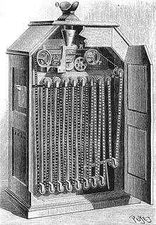 1893: Thomas Edison introduceert de Kinetoscoop, de eerste filmprojector. Pas in 1894 houdt hij er zijn eerste grote voorstelling mee. - Wikipedia