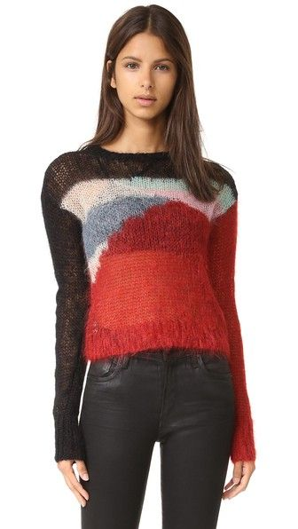 R13 Cropped Open Knit Mohair Sweater