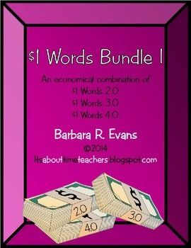 One Dollar Words Bundle I is an economical bundle of One Dollar Words 2.0, 3.0, & 4.0. Awesome integrated learning perfect for GATE, enrichment, and fast finishers. $ #onedollarwords #math #research #vocabulary #enrichment #HOTS #problemsolving #BarbEvans #itsabouttimeteachers