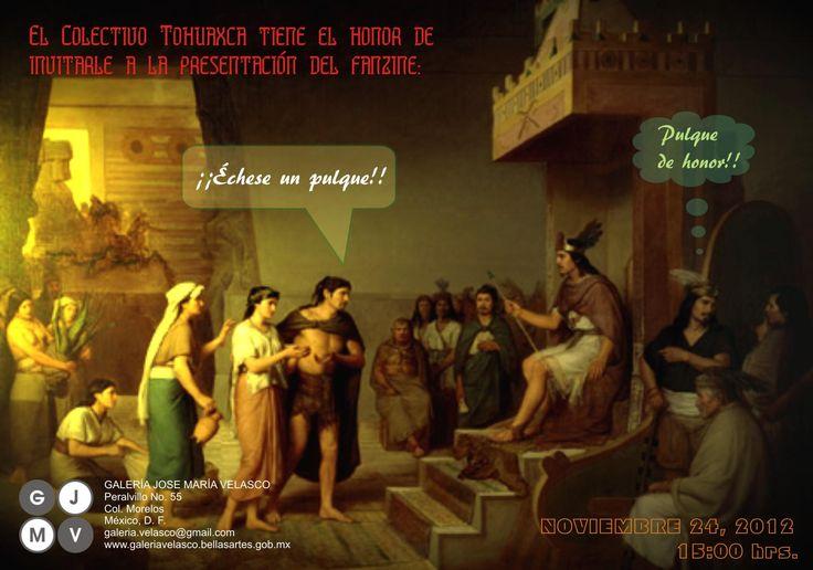 """Postal para presentación del fanzine """"Échese un pulque"""" en la Galería Jose María Velasco. #pulque #GJMV"""