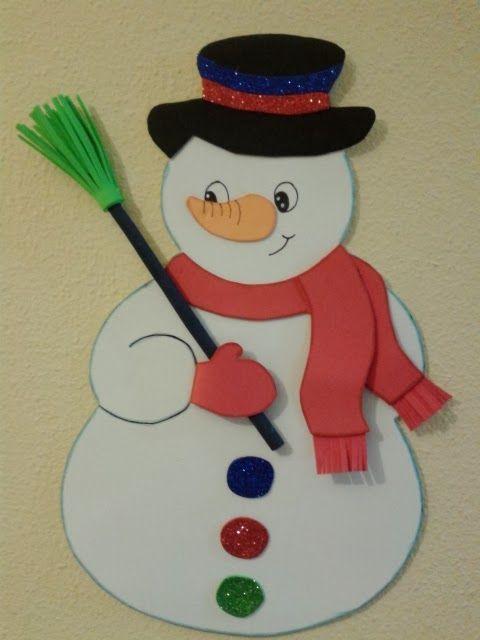 Pincho muñeco de nieve - Manualidades en Goma Eva y Foami