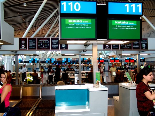 Check-in counters for Kulula at Cape Town International Airport