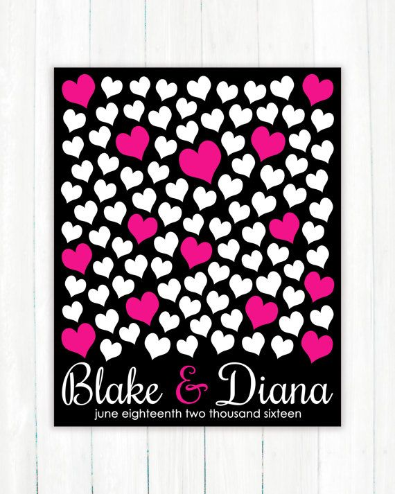Wedding Guest Book Alternative Art Print, Custom Wedding Guestbook Poster, Signature Heart Wedding Guestbook, 100 Guests, Bridal Shower Gift Present, Black and Pink by Caldson Designs