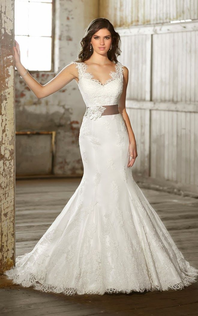 V-Neck Lace Cap Sleeve Wedding Dress, Trumpet Silhouette Wedding Dress