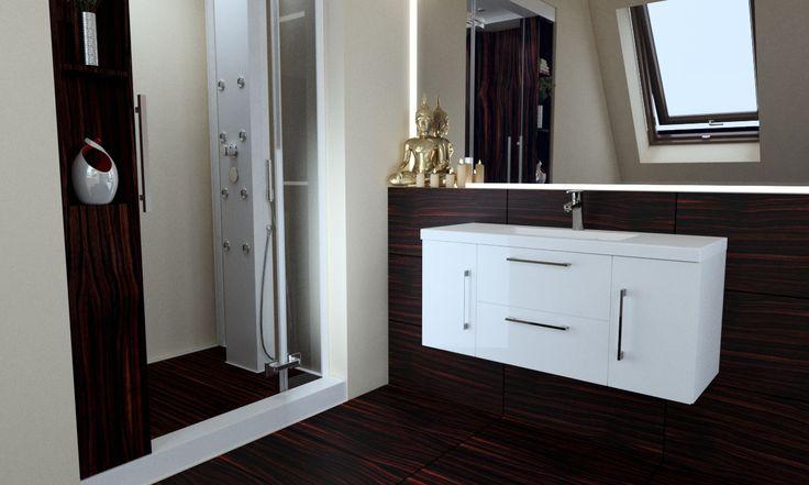 Drewnopodobne mahoniowe płytki nadają wnętrzu ciepła i elegancji. Stanowią też piękne tło dla szafki umywaklowej z kolekcji Rise od Furni.