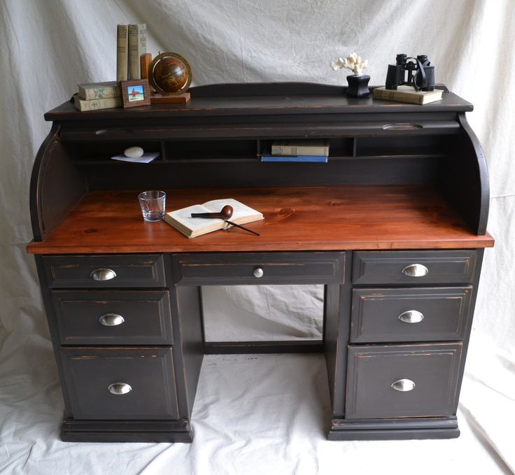 how to paint a roll top desk 3