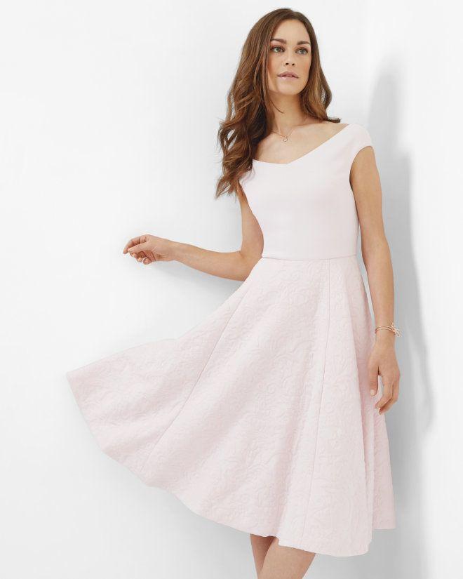 Off-the-shoulder dress - Nude Pink | Dresses | Ted Baker