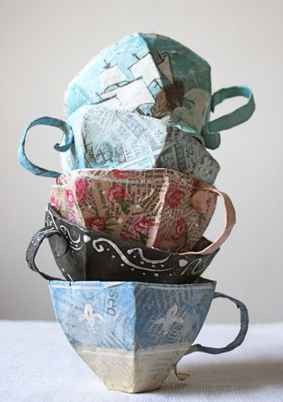 Tea cups - out of paper mache! Click through for a template and instructions on how to make them.