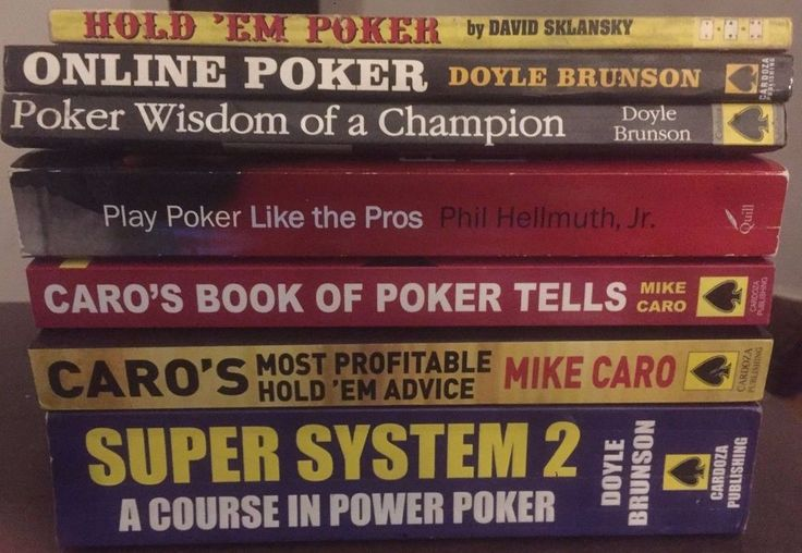 Lot of 7 Poker Books, Brunson, Caro, Hellmuth, Sklansky, FREE SHIPPING