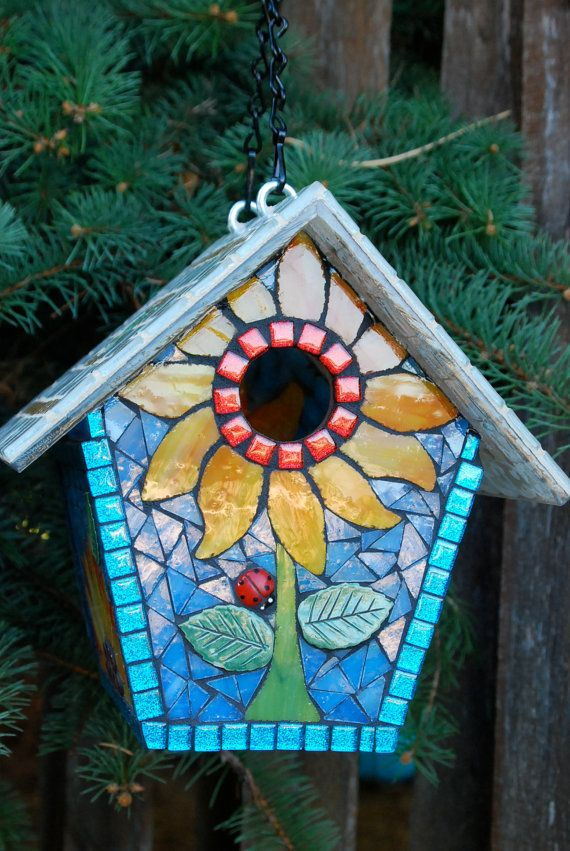 Birdhouse Stained Glass Mosaic Sunflower 2 by NatureUnderGlass