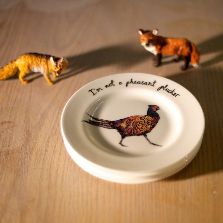 Pheasant Plucker Small Bone China Plate. by Katie j Spragg