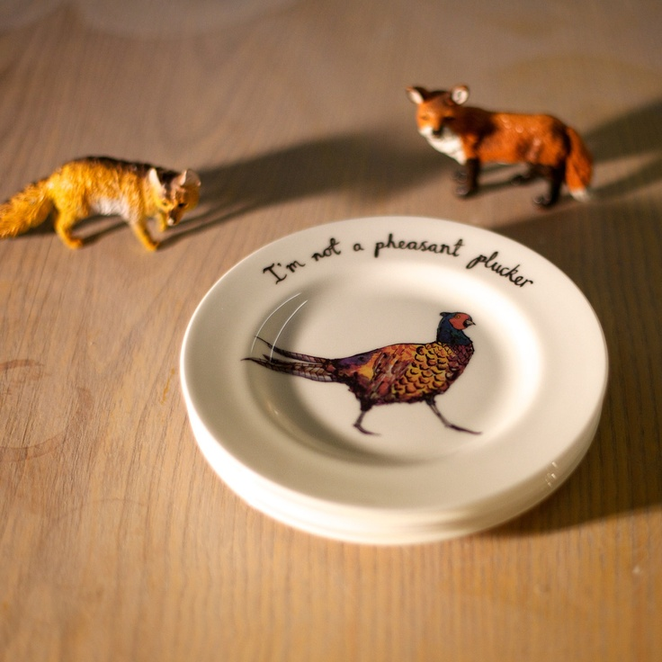 Pheasant Plucker Small Bone China Plate. by Katie j Spragg