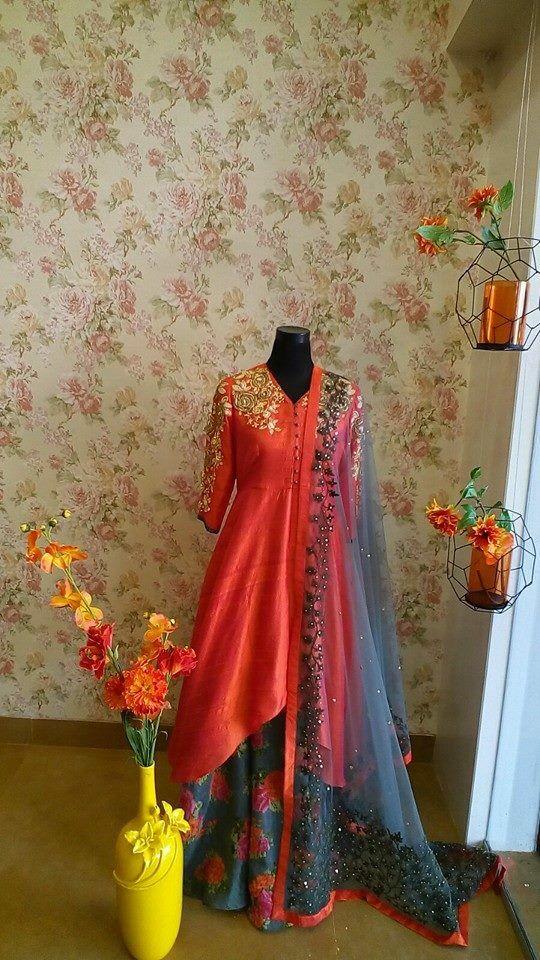 orange shirt and blue lehenga and dupatta | good for mehndi | modern yet still desi | south Asian weddings