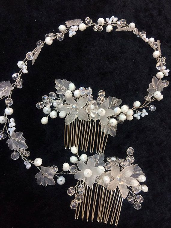 Pair of wedding bridal hair combs  glass beads by FlowerRainbow, $69.99