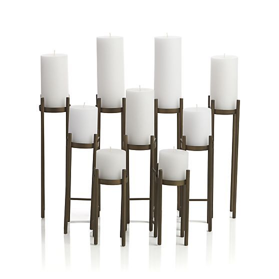 $129 Antique Brass Fireplace Candelabra in Fireplace Accessories | Crate and Barrel