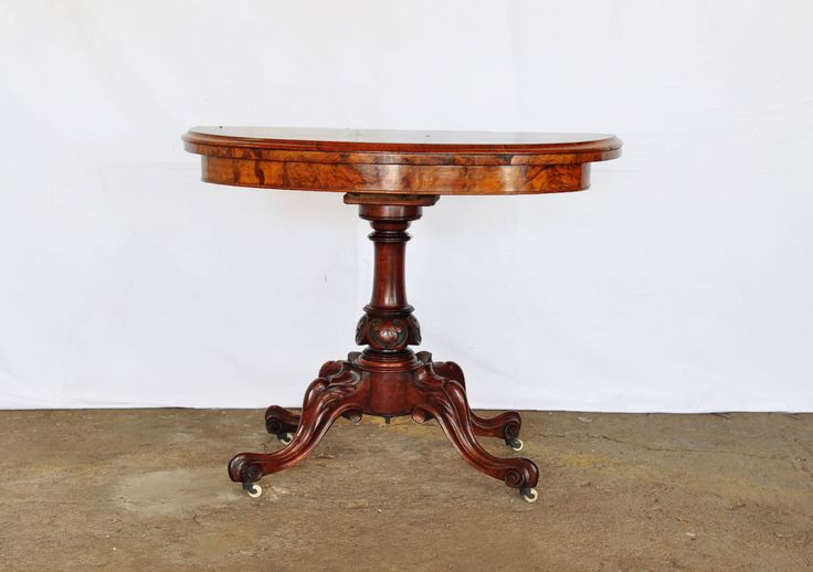 SOLD! #NorthcliffAntiques Victorian Burr Walnut Half Moon Card Table, some damage to the veneer of the top, in addition to the imperfect felt, the baluster turned column with lotus flower carving, on four cabriole legs ending in scrolled feet. #Antiques #Burr #Walnut #CardTable